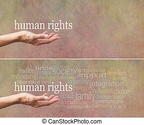 Human Rights campaign banner - Female's open palm with the...