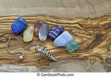 Healing Crystals and Dowser - Selection of healing crystals...