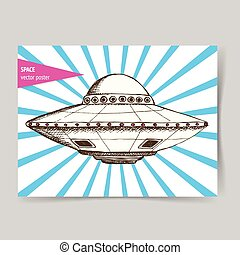 Sketch ufo plate in vintage style,  poster