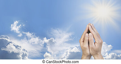 Cupped Hands in Prayer Position - Male hands cupped together...