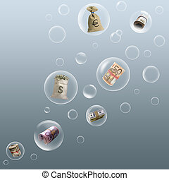 Money - The money flying in soap bubbles by air