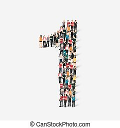 people form number one - A large group of people in the form...