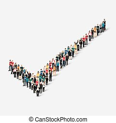 group people form checkmark - A large group of people in the...
