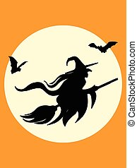 Halloween witch and bats silhouette