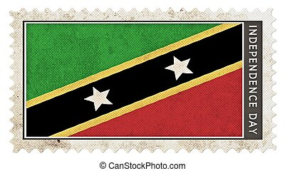 st kitts & nevis flag on stamp independence day big size -...