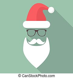 Hat, Beard, Mustache and Glasses of Santa