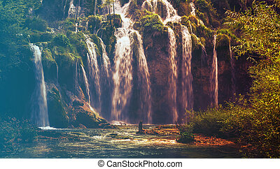 Waterfall in Plitvice National Park, Croatia. Filtered...
