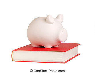 Piggy bank on a book - A piggy bank standing on a closed...