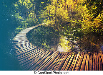 Wooden path and waterfall in Plitvice National Park, Croatia...