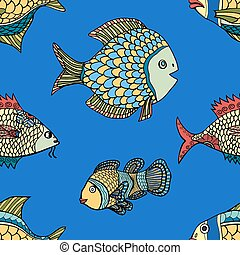 pattern - fish blue seamless  pattern. Hand Drawn doodle