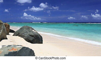 Waves on a tropical beach with rock
