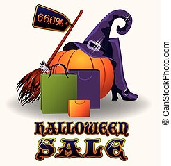 Halloween sale banner, vector