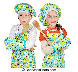 boy and girl learning to cook a over white background