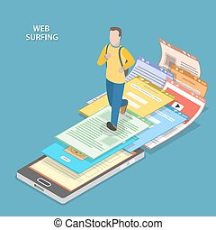Web surfing isometric flat vector concept. Men with backpack...
