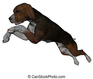Hound - 3D rendered hound dog on white background isolated