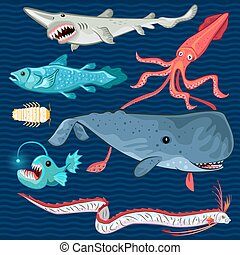 Fish Of The Deep Blue Sea Collectio - Illustration Of Fish...