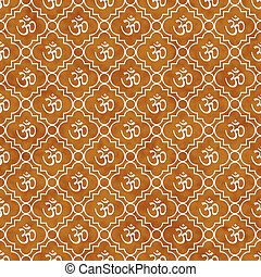 Orange and White Aum Hindu Symbol Tile Pattern Repeat...