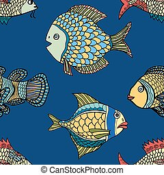 pattern - fish blue seamless pattern Hand Drawn doodle