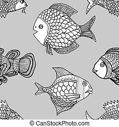 pattern - Anemonefish Clownfish monochrome seamless pattern....