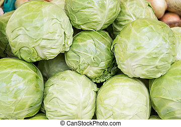 close up of cabbage at street market - sale, harvest, food,...