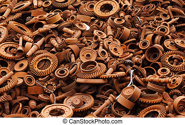 Junkyard with rusty machinery parts