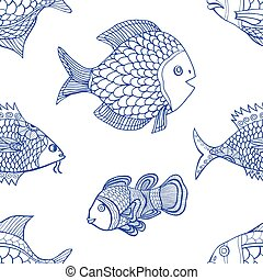 pattern - Anemonefish Clownfish monochrome seamless pattern...