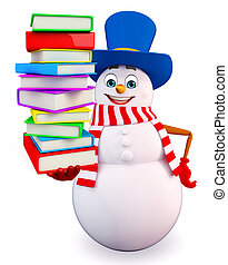 snowman with books pile - 3d rendered illustration of...