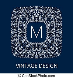 Luxury Vintage Blue Frame for Monogram