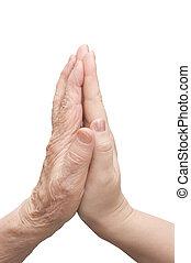 mãos, jovem, mulher, Idoso, homem