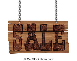 Wooden Blackboard with sale Image with clipping path