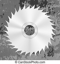 Silver Metal Saw Disc - Silver Metal Saw Isolated on Grey...