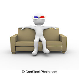 3d man with 3d glasses on sofa - 3d rendering of man wearing...
