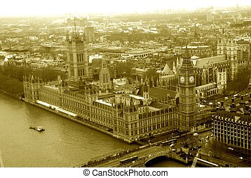 London - Aerial view of London England in old time sepia...