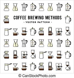 Coffee brewing methods pattern Different ways of making hot...