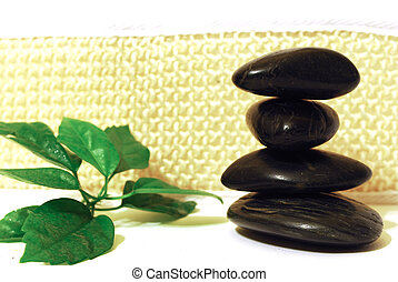 Spa stones with green leaf