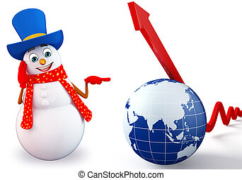 Cartoon Snowman with globe and arrow