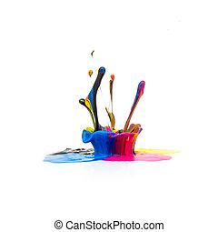 CMYK paint splash colors isolated on white