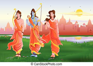 Happy Dussehra - vector illustration of Lord Rama,Laxmana...