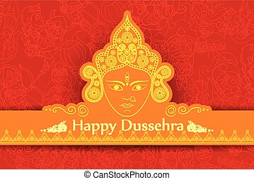 Goddess Durga for Happy Dussehra - vector illustration of...