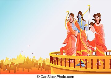 Happy Dussehra - vector illustration of Lord Rama,Laxmana...