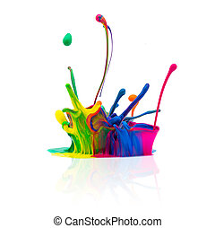 abstract paint splashing isolated on white - A Colorful...