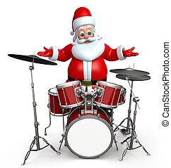 Santa claus with drum set - 3d rendered illustration of...