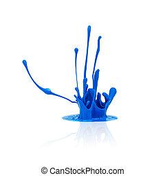 blue paint splashing isolated on white
