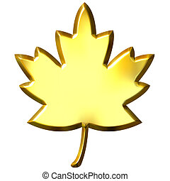3D Golden Canadian Leaf - 3d golden Canadian leaf isolated...