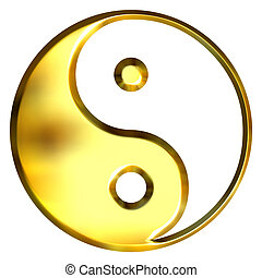 3D Golden Tao Symbol - 3d golden Tao symbol isolated in...