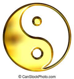 3D Golden Tao Symbol