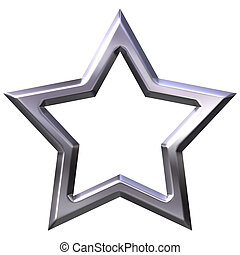 3D Silver Star Frame - 3d silver star frame isolated in...