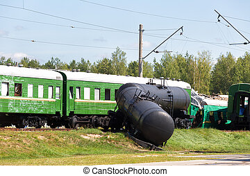 Crash of trains: the passenger train collided with the...