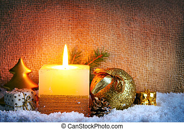 Christmas candles. - Christmas background with white advent...