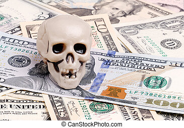 Skull on dolars - Skull on US dollar bills